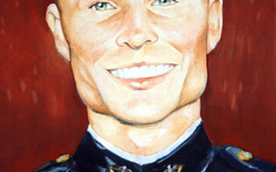 This portrait of Capt. Sean L. Brock was painted by Staff Sgt. John Carrillo, a Marine graphic artist.