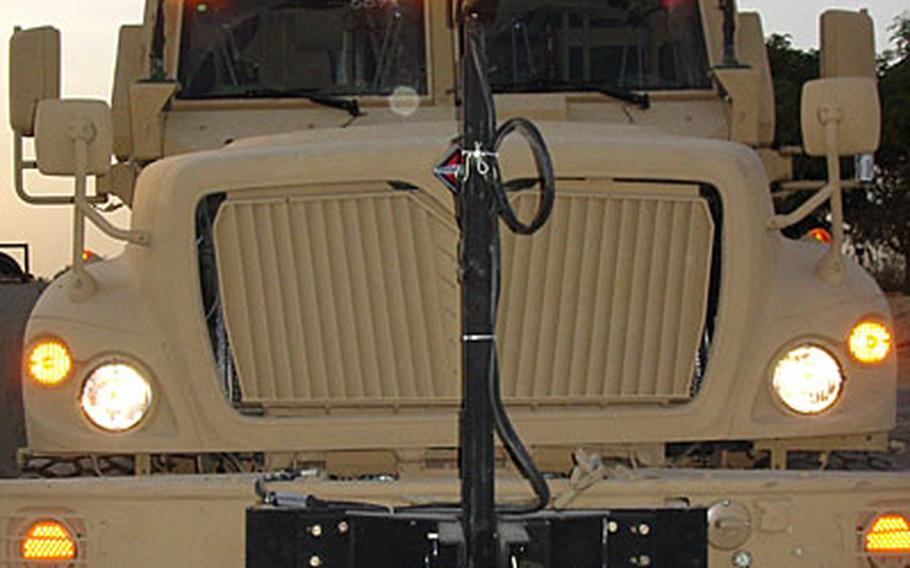 The grill of a new Mine-Resistant Ambush Protected (MRAP) vehicle at Camp Liberty in Baghdad.