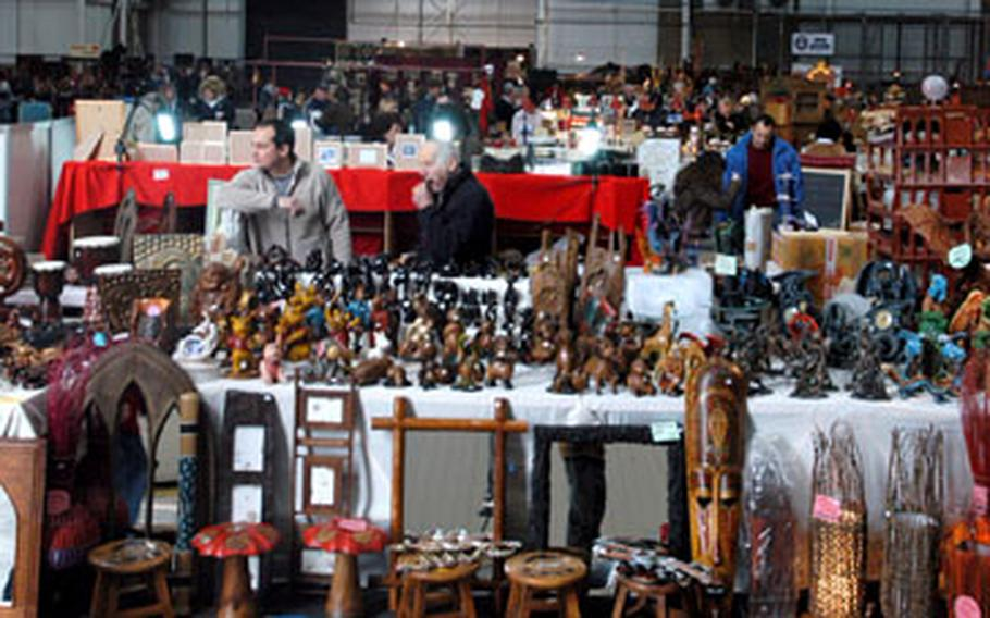 From wine to olives to wood carvings to clothing to Persian rugs, there were all types of wares on sale Saturday at the annual RAF Mildenhall holiday bazaar.