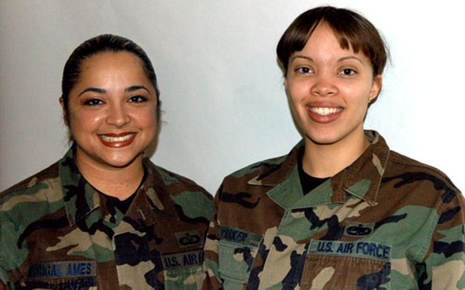 Staff Sgt. Suzy Madrigal-Ames, left, and Staff Sgt. Jonica Parker, recently took over leadership of the Liberty 56, a volunteer group that supports base functions in a variety of ways.