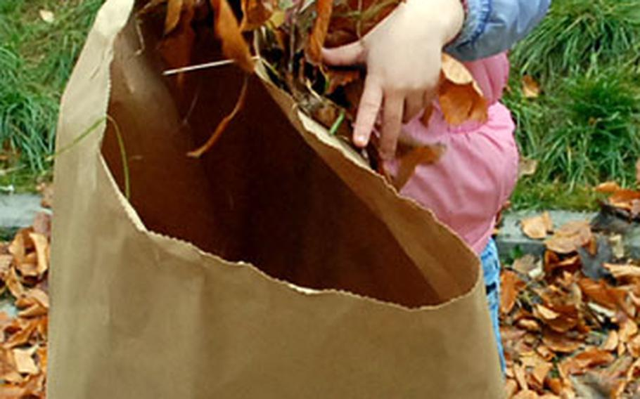 Aimee Duchansestruggles with an oversized leaf bag.