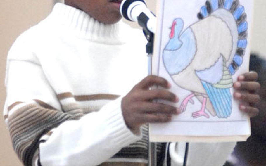 Fredrick Wheeler, 10, was the narrator for the Dexheim Elementary School's third- and fourth-grade Thanksgiving performance.