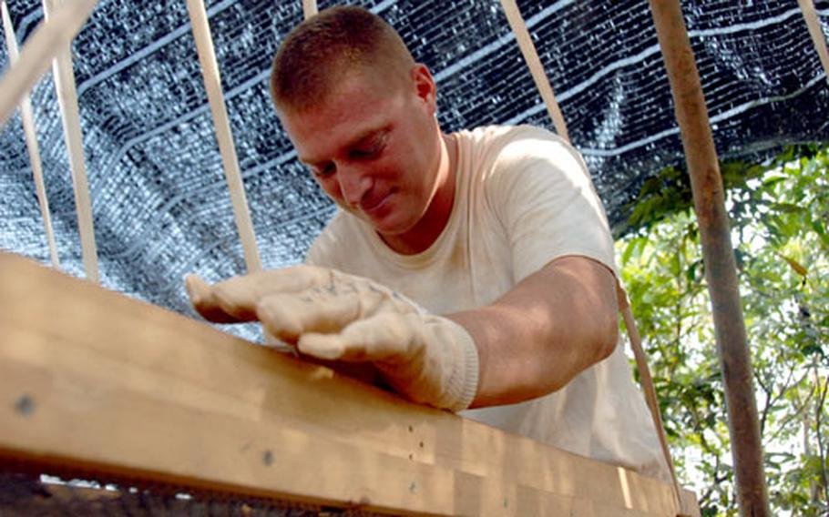 Army Spc. Joel Wood looks for pieces of bone, teeth and aircraft debris in a sifting station at a JPAC dig site in Lang Son province, Vietnam.