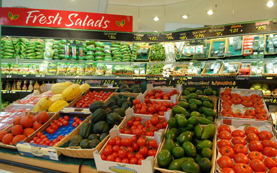 A strong euro can make items purchased locally by the Defense Commissary Agency, like the produce seen here at the Mannheim, Germany, commissary, more expensive for Americans.