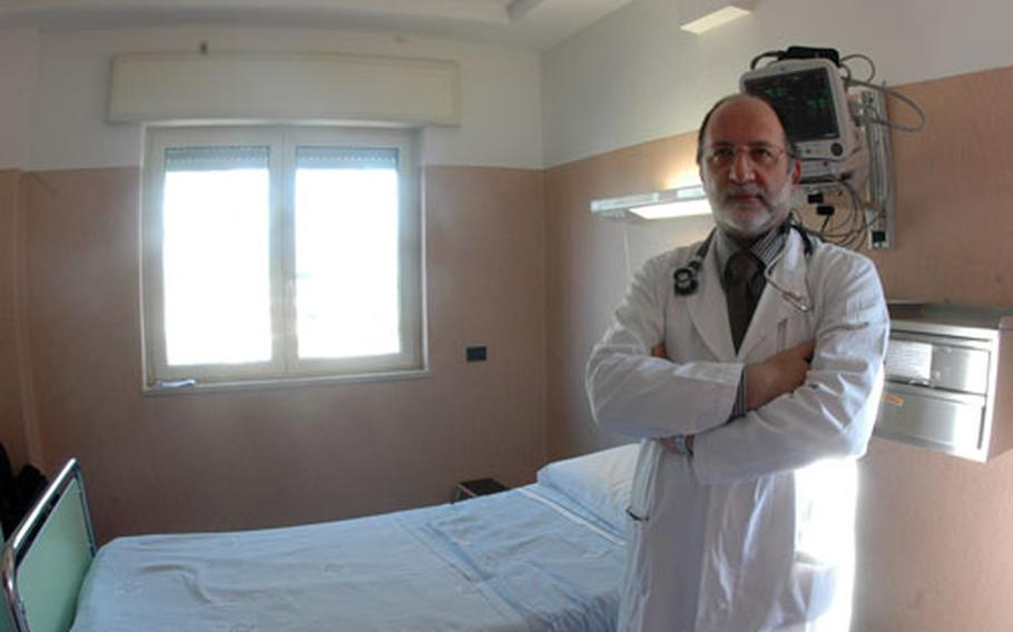 Dr. Luciano Marullo, chief of staff for the cardiology unit at Pineta Grande clinic in Castel Volturno, stands in a private suite in the hospital's cardiology intensive care unit that has been set aside for foreign patients, primarily Americans.