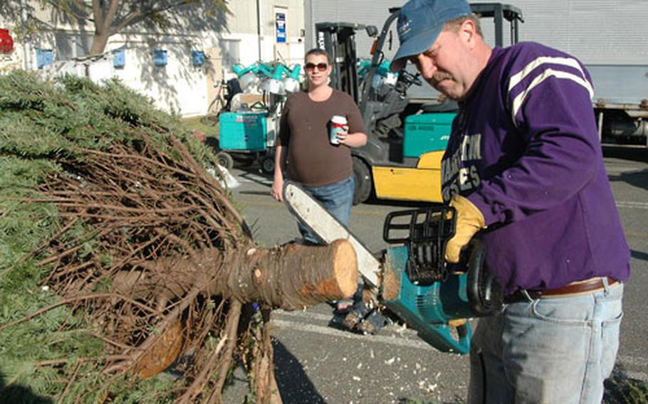Navy Exchange regional divisional manager Mike Owyen uses a chain saw to size a tree for Navy spouse Jennifer Devries. After three years in Japan, Devries stands by her belief that it's just not Christmas without a real tree.