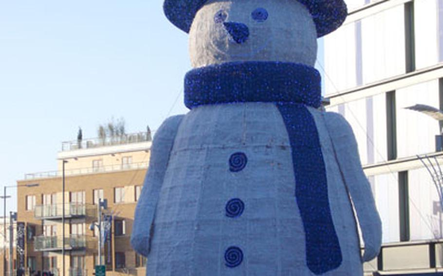 Frosty is on hand at the Cambridge Leisure Park throughout the holiday season. Visitors can bowl, hit the club, see a movie or grab a bite to eat on the redeveloped tract.