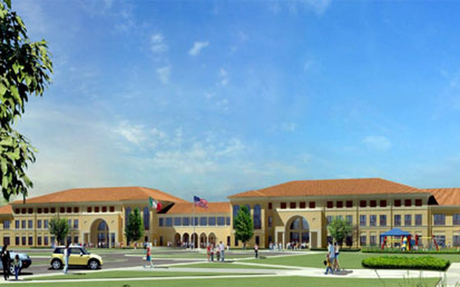 An artist's rendering shows the new elementary and middle schools that will be built in Vicenza, Italy's Villagio housing complex.