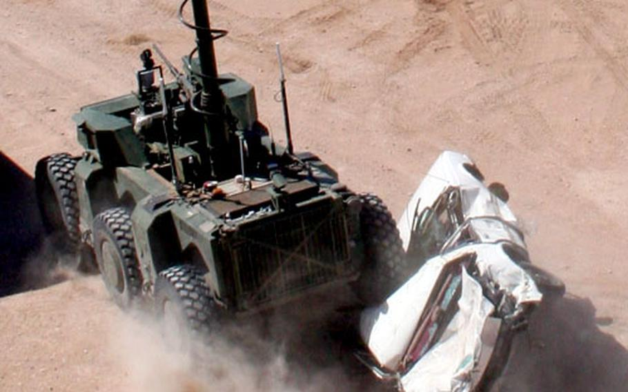 No parking space will be safe from the Crusher, as this recent demonstration at Fort Bliss, Texas, shows.
