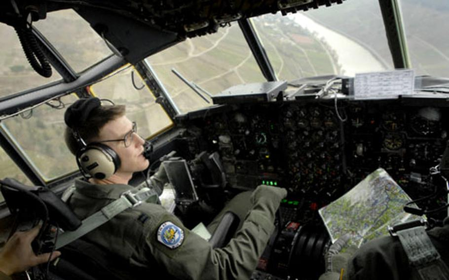 Capt. Kent Jensen, a pilot assigned to the 37th Airlift Squadron, flies a C-130 low-level through the Rhine River valley Jan. 25th, 2006, during a routine training mission out of Ramstein Air Base. This specific C-130 was built in 1963.