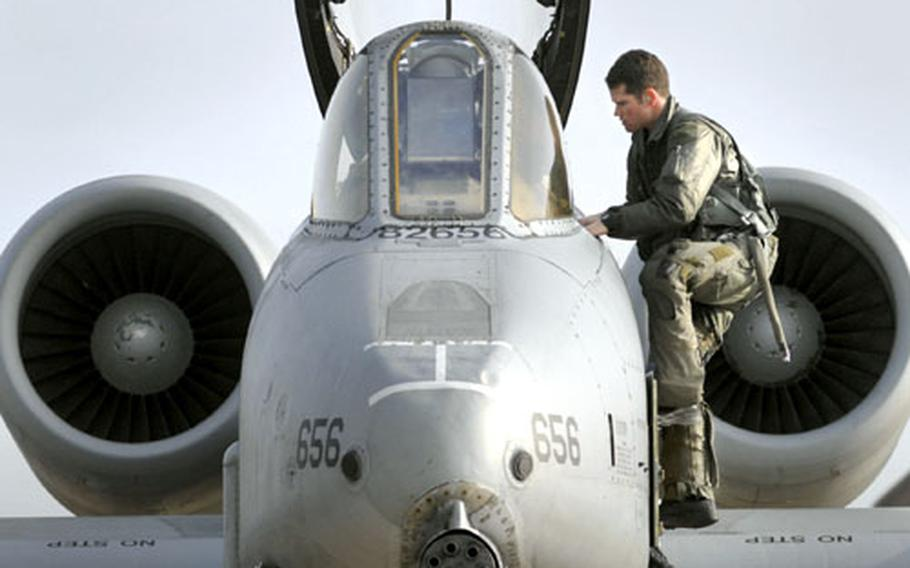 A pilot assigned to the 81st Fighter Squadron climbs into an A-10 Thunderbolt II prior to flying a local training mission out of Spangdahlem Air Base, Germany, in 2006.