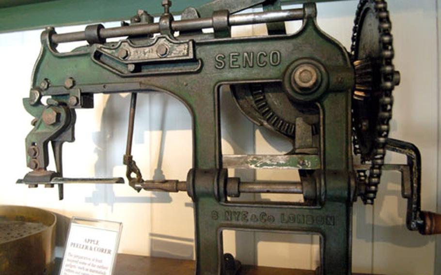 Among the strange Victorian-era relics in the museum is this apple corer, roughly the size of a sewing machine.