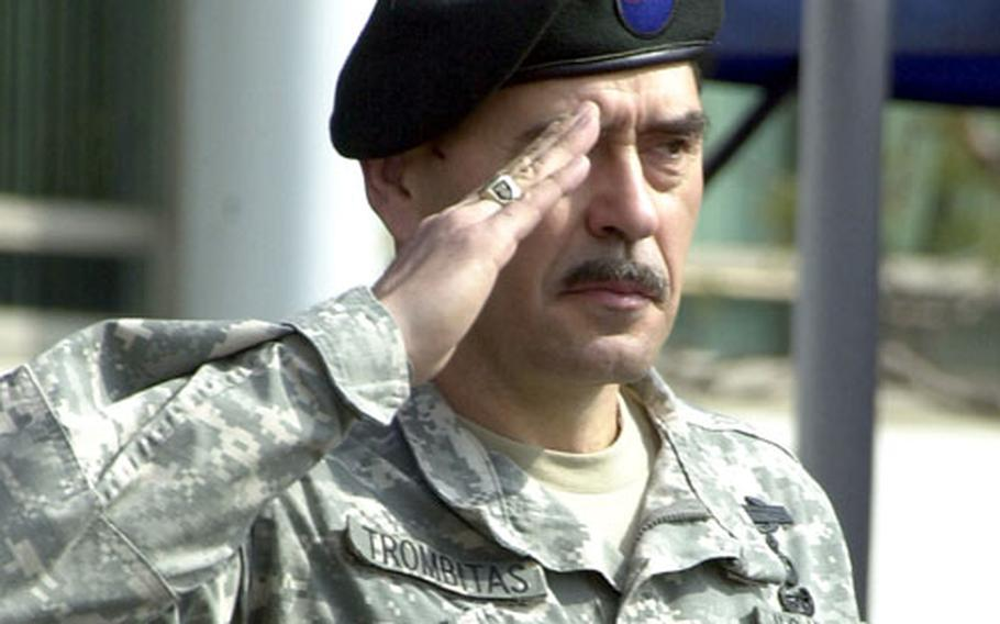 Brig. Gen. Simeon Trombitas, head of Special Operations Command Korea, salutes during his relinquishment of command ceremony on Thursday at Yongsan Garrison.