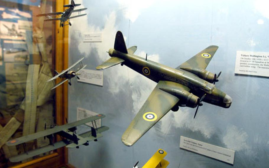 Models of aircraft that called Mildenhall airfield home in the 1930s and '40s hang in one of the exhibits.