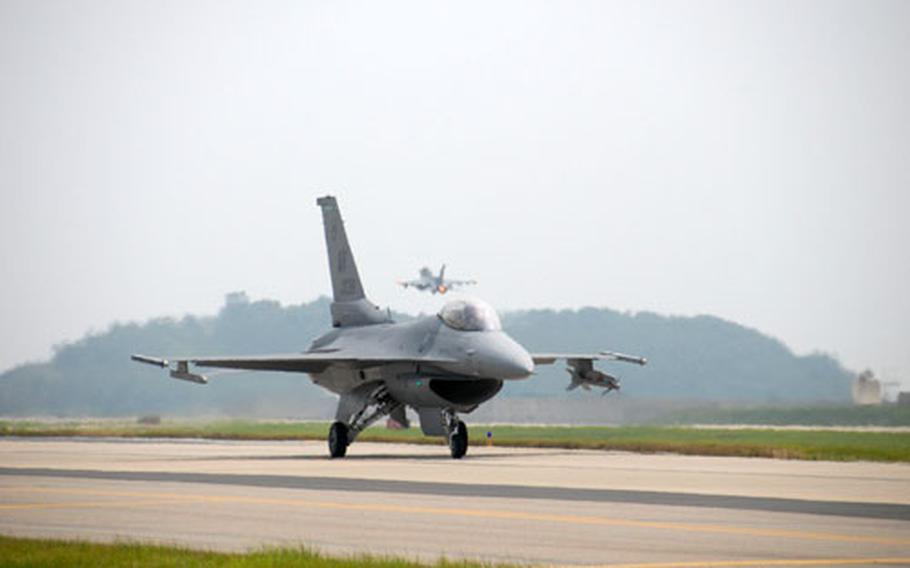 """U.S. military officials said Tuesday that there had been no """"official"""" talks of withdrawing one of the 7th Air Force's three F-16 squadrons, but wouldn't say whether the issue was broached informally in talks between the countries."""