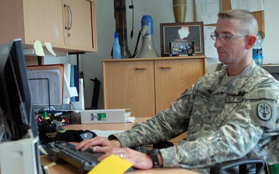 Sgt. Keith Gautreaux joined the Vilseck Warrior Transition Unit after sustaining a serious spinal injury while serving in Iraq with 1st Battalion, 155th Infantry Regiment in 2005. The WTU helped Gautreaux, the unit's first soldier declared fit for duty, trade a rucksack for a computer.