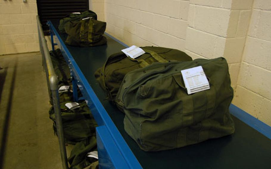 Mobility bags ready to be picked up by deploying airmen at 48th Logistics Readiness Squadron's deployment center warehouse last week. More than 400 airmen from the 48th Fighter Wing are slated to deploy in the upcoming Air Expeditionary Force rotations 3 and 4.