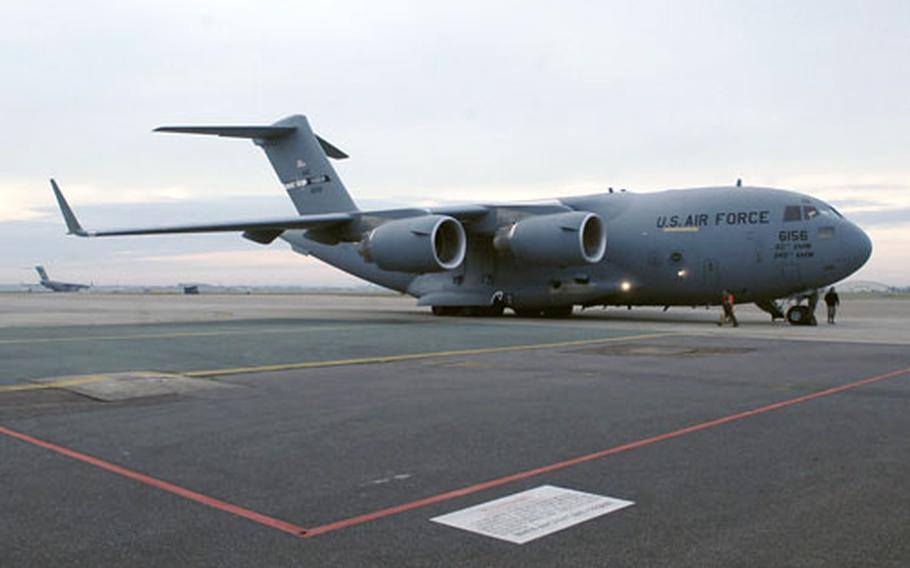 This C-17 Globemaster operated temporarily from RAF Mildenhall, England, while the runway at Incirlik Air Base, Turkey, was being repaved. The last contingent of the 240 visiting airmen from the 817th Airlift Expeditionary Squadron is expected to leave England on Thursday.