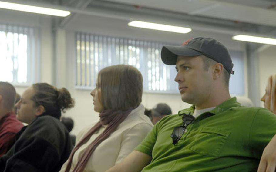 Spc. Shane Byrne and his wife, Amanda, listen to a class for married couples with spouses who just returned from Iraq. Shane Byrne recently returned to Vilseck, Germany, after a 15-month deployment in Iraq.