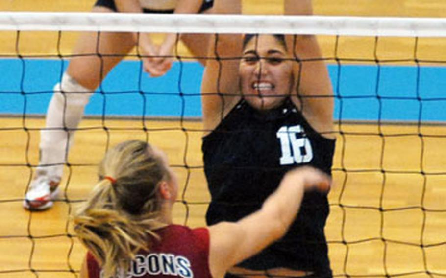 Lakenheath's Lisa McBride sets a ball for a teammate at last week's DODDS-Europe volleyball championships in Germany.