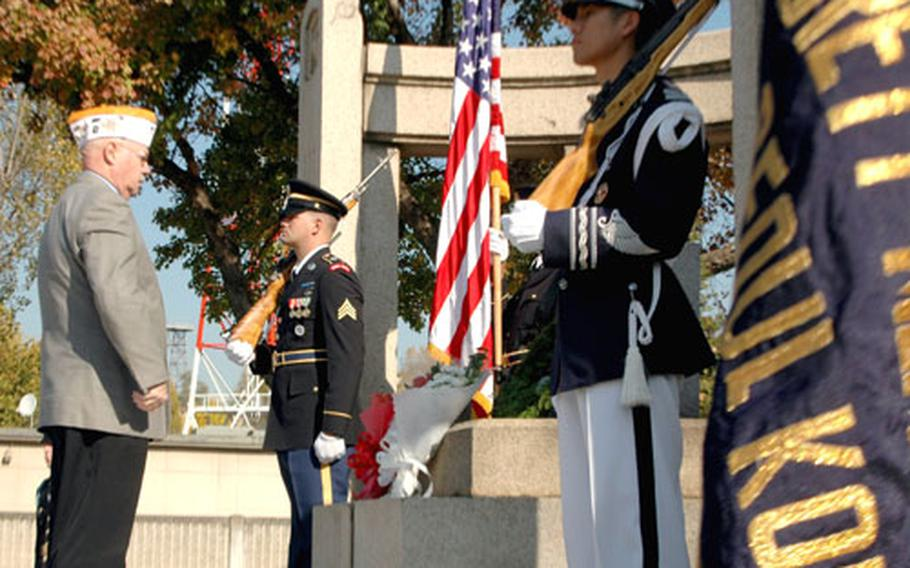 More than 100 people on U.S. Army Garrison-Yongsan attended a ceremony Tuesday morning in honor of Veterans Day. The remembrance marks Nov. 11, 1918, the end of World War I.