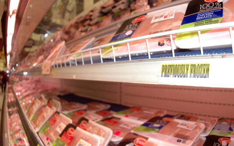 The commissary at the Navy base in Naples, Italy, stocked its poultry aisle with pre-frozen chicken after officials suspended the contract with Arena Chicken following a failed inspection last month.