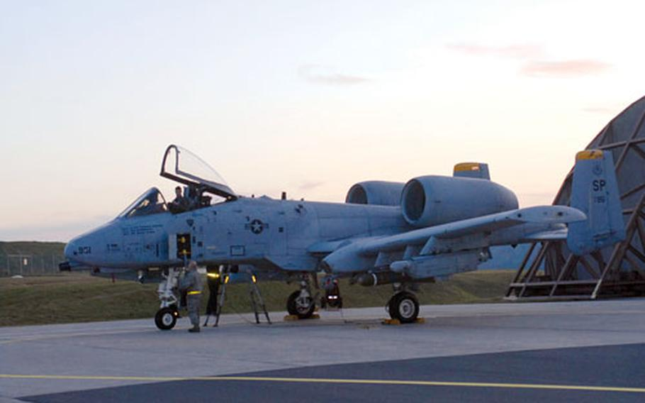 This A-10A lacks the A-10C's improved avionics and computers, as well as its fighter plane-like control stick and throttle.