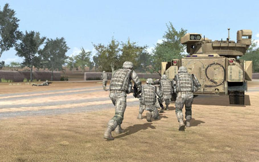 """Troops head for cover as they return fire in a screen shot from the training simulation """"Virtual Battle Space 2"""" used at the Joint Multinational Simulation Center in Grafenwohr."""