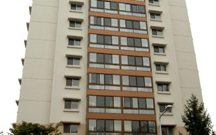 This U.S. military housing tower on Hannam Village in Seoul has remained vacant since military officials said the housing is not up to U.S. Army standards.