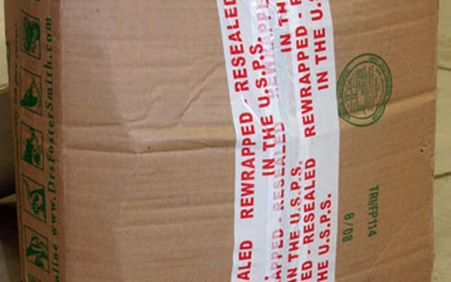 Improperly packaged mail, like this, can become damaged before it is delivered.