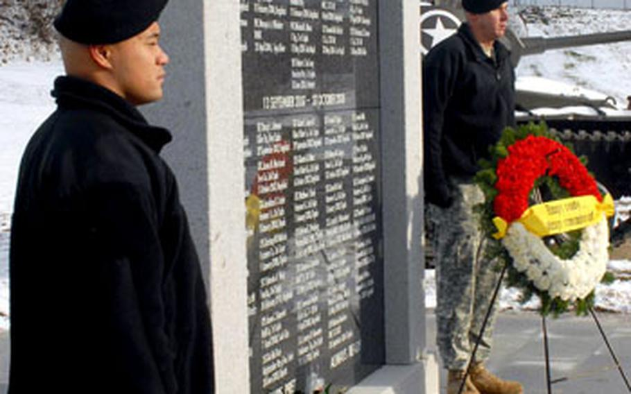 On Tuesday, families and friends visited a newly built remembrance wall at Vilseck that lists the names of 2nd Stryker Cavalry Regiment soldiers killed in action in Iraq.