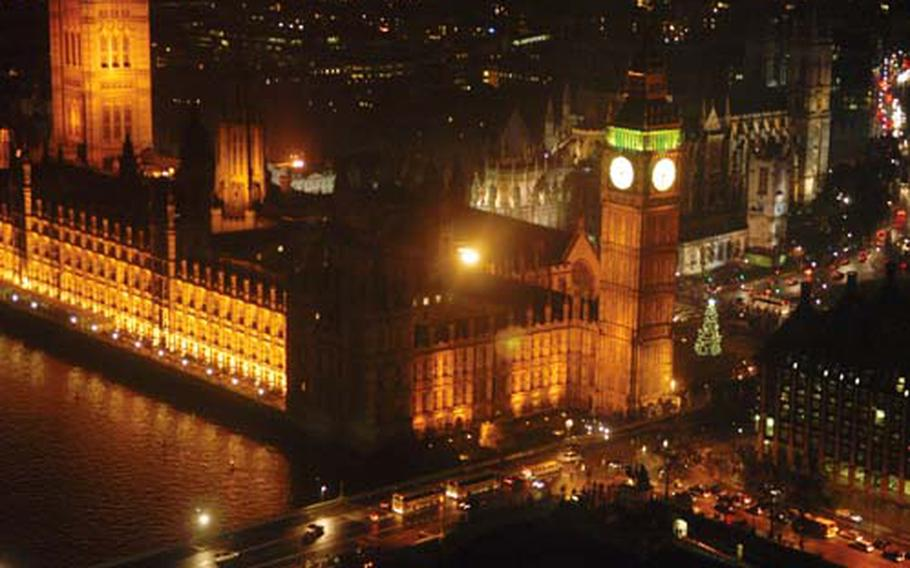 From the London Eye, you can see the tree in Parliament Square and some of the Christmas lights that make the city twinkle a little more during the holidays.