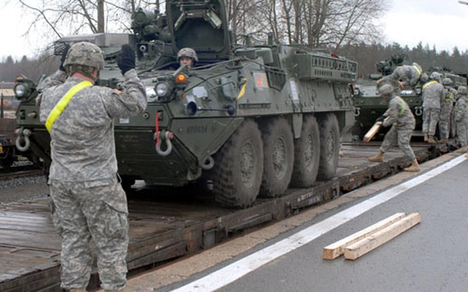 2nd Stryker Cavalry Regiment soldiers unloaded dozens of Stryker armored personnel carriers at the Vilseck railhead on Saturday. The vehicles were back from a 15-month deployment to Iraq.\