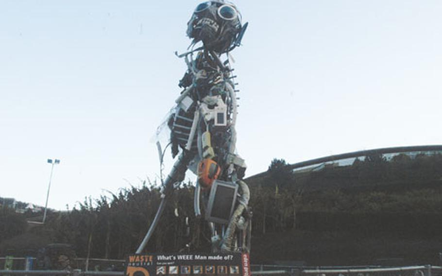 """The 50-foot """"WEEE"""" man was made from recycled household appliances."""