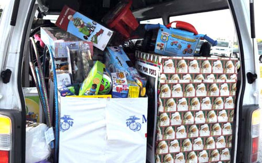The Toys for Tots van is stuffed with donations.