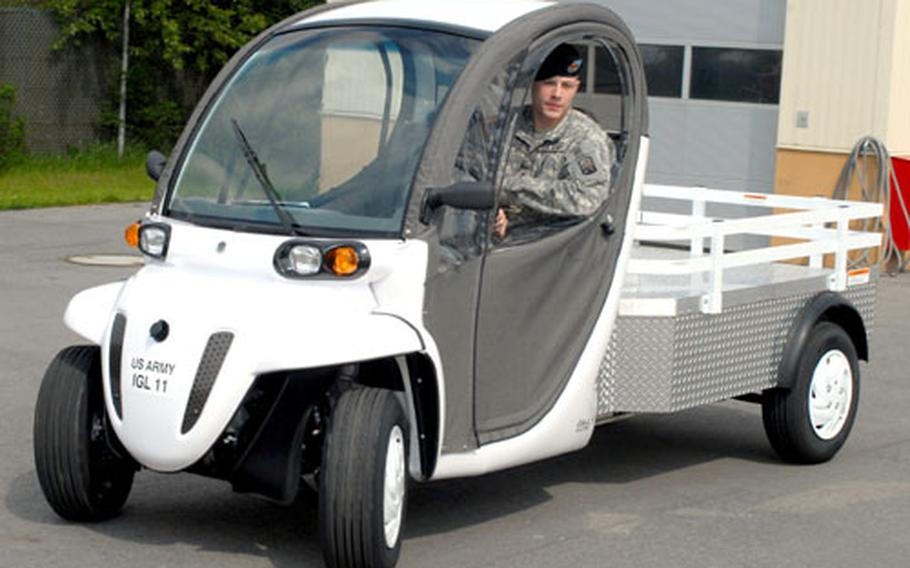 Spc. Jacob Landis drives a leased electric vehicle at Grafenwöhr, Germany, in May. After a six-month trial, the garrison has decided not to keep the three vehicles.