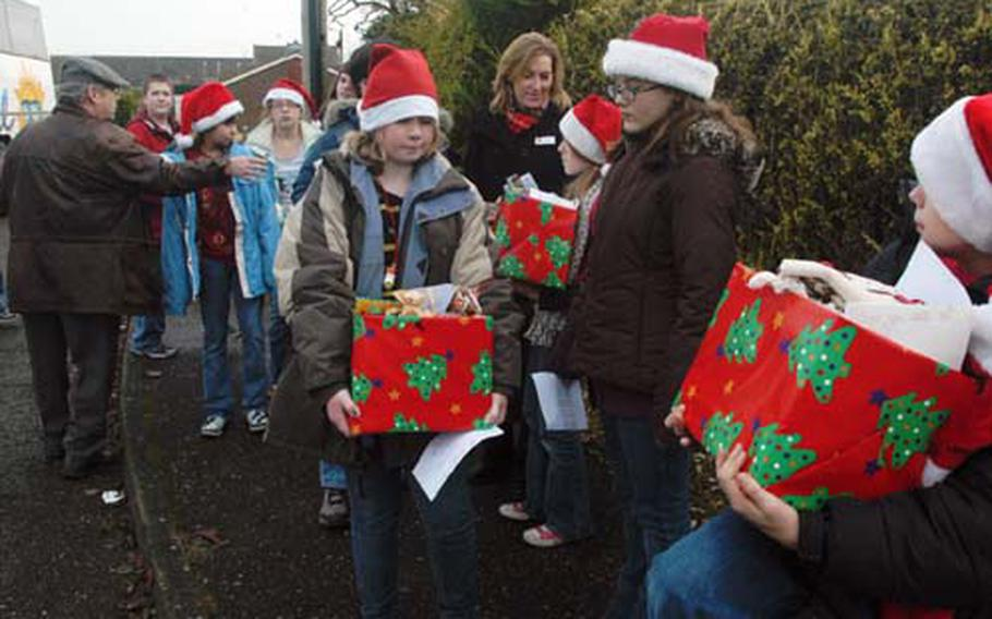 Berkey directs a group of students who made up this year's Polar Express.