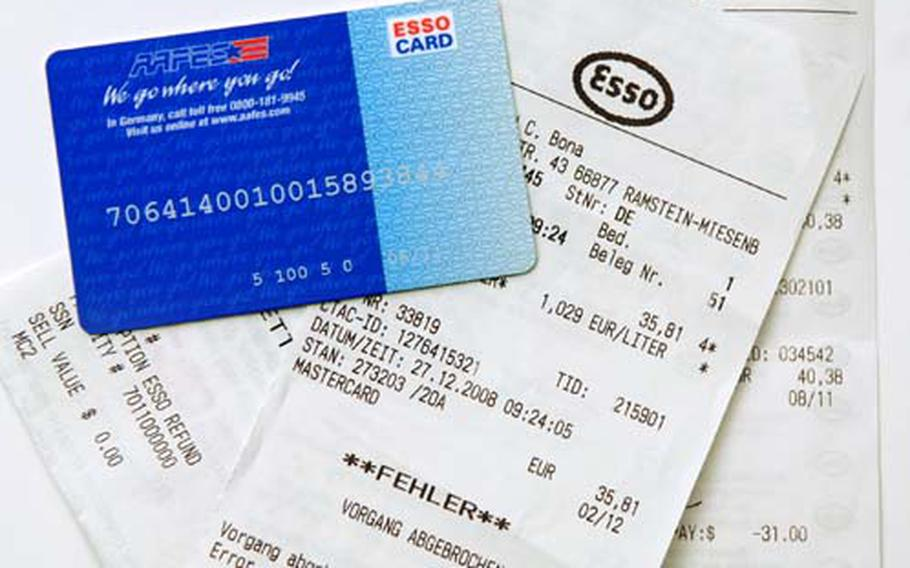 """A picture of the Esso gas card with receipts from recent gas transaction mistakes. """"Fehler,"""" is German for error, meaning the AAFES gas card was rejected by the gas station."""