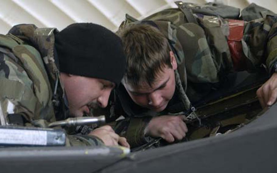 Staff Sgt. Edward Grogg, left, and Senior Airman Joseph Benevides inspect an emergency power unit for leakage on an F-16 Fighting Falcon during an operational readiness exercise Tuesday at Kunsan Air Base, South Korea. The emergency power unit will activate on the F-16 if there is an electrical or hydraulic power failure.