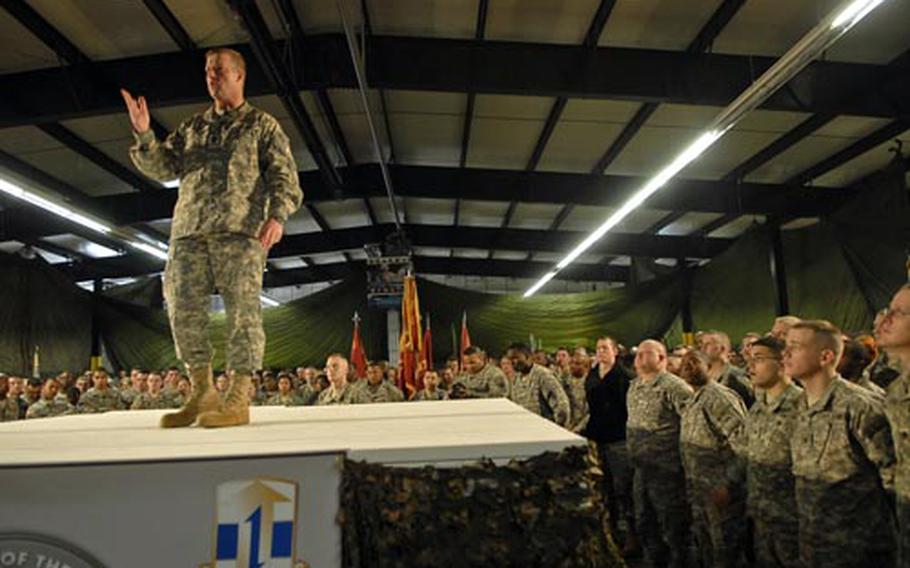Sgt. Maj. of the Army Kenneth Preston spoke to soldiers Wednesday at Rhine Ordnance Barracks in Kaiserslautern, Germany. Preston discussed stress on the force, increased dwell times at home, and what the Army's doing this year to recognize its noncommissioned officer corps.