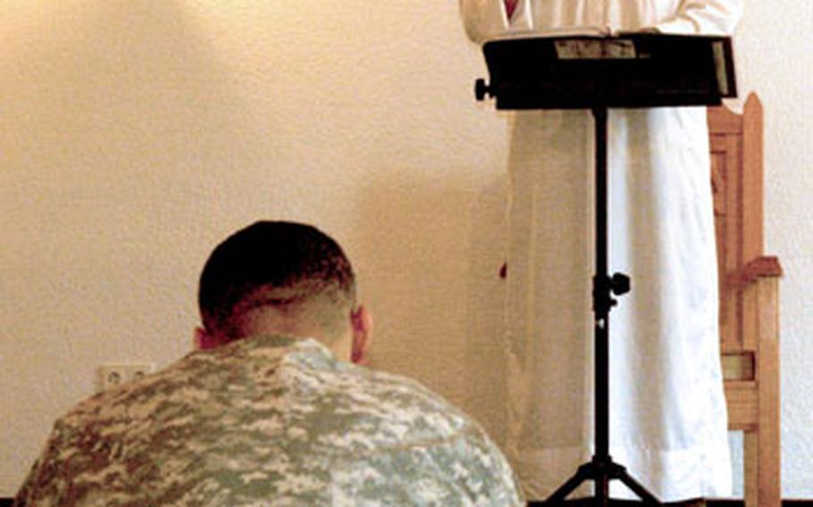 Chief Warrant Officer III Scott Weathersby, the Muslim lay leader for the Stuttgart community, leads weekly Friday services at the Panzer Kaserne Chapel. Religious programming has doubled in the past year in Stuttgart, where Col. Thomas Preston heads a team of eight chaplains, who on any given weekend lead 10 different worship services at the garrison's three chapels.