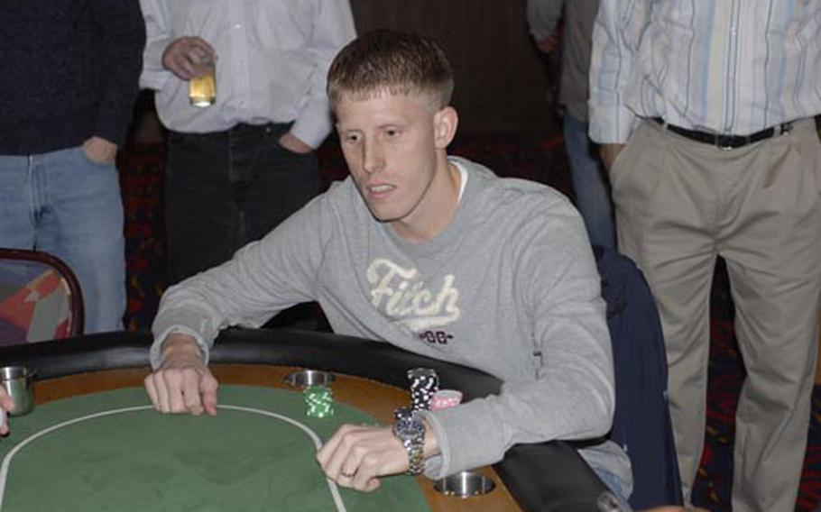 Staff Sgt. Kevin Jordan defeated 14 other players in this year's United States Air Forces Europe Project CHEER Texas Hold 'Em Tournament at RAF Mildenhall on Saturday. The Lajes Field, Azores, airman won a $1,000 Army and Air Force Exchange Service gift card.