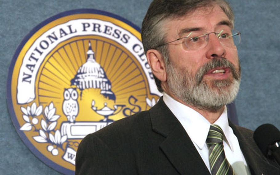 """Sinn Fein party leader Gerry Adams speaks at the National Press Club March 16. """"There's no going back,"""" Adams said. """"The only way to go is forward."""""""