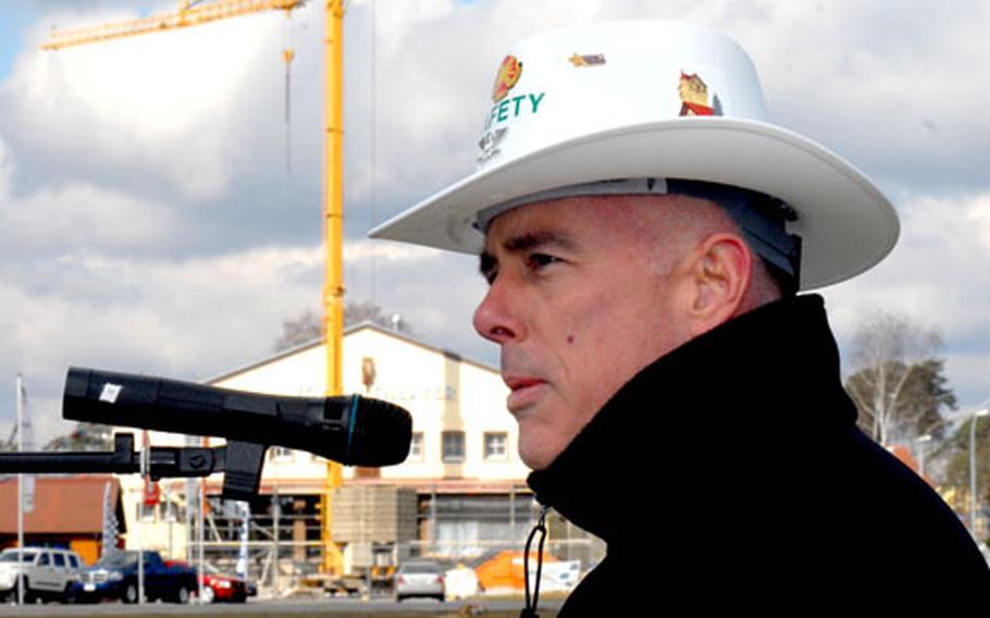 "U.S. Army Garrison Grafenwoehr commander Col. Nils ""Chris"" Sorenson speaks at a ground-breaking ceremony Friday for a $24 million on-post hotel."
