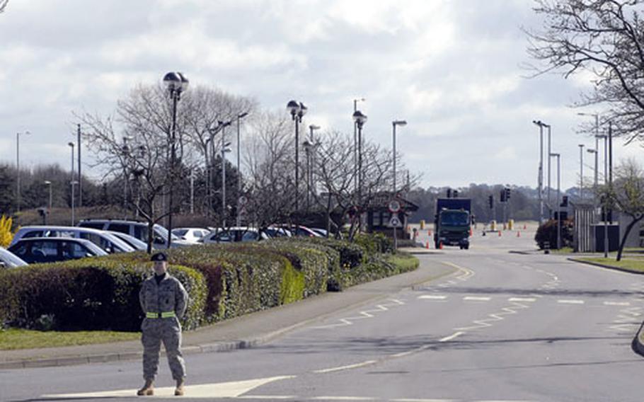 A 48th Security Forces Squadron airman blocks off Gate 1 at RAF Lakenheath.
