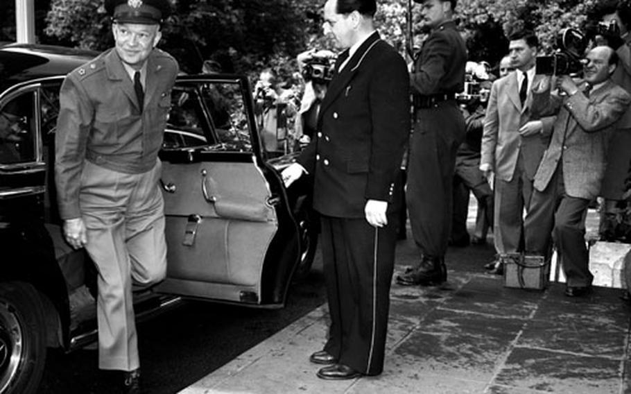 Gen. Dwight D. Eisenhower arrives for a meeting with West German Chancellor Konrad Adenauer in Bonn in May, 1952.