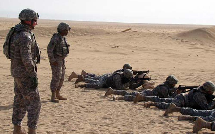 Members of the the 623rd Movement Control Team conduct rifle range training at Camp Buehring, Kuwait.