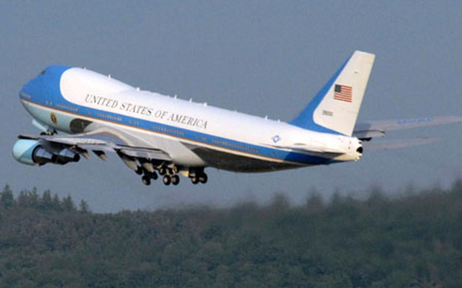Air Force One lifts off from Ramstein Air Base.