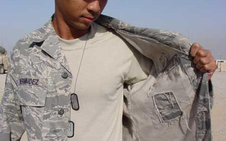 Air Force officials say that a new lightweight version of the Airman Battle Uniform blouse won't be available until the fall of 2010. The service decided to offer the new uniforms because airmen said the ABU blouse was too hot in deployed locations. In November 2007, Senior Airman Michael Bermudez, assigned to the 732nd Expeditionary Security Forces Squadron in Iraq, showed the inside of his uniform with the map pocket removed to make the uniform cooler.