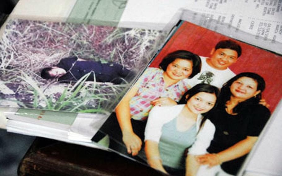 Peter Turiano is pictured with members of his family, right, and in a photograph of the scene of his death in April. Turiano was killed in an armed robbery while driving the Bench family in the Philippines.